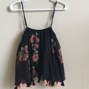 Anthropologie tassel trim floral printed tank top